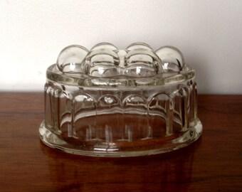 Vintage Heavy Glass Jelly Mould. 1950's.