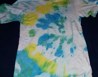 Green and Yellow Adult Tie Dye T Shirt