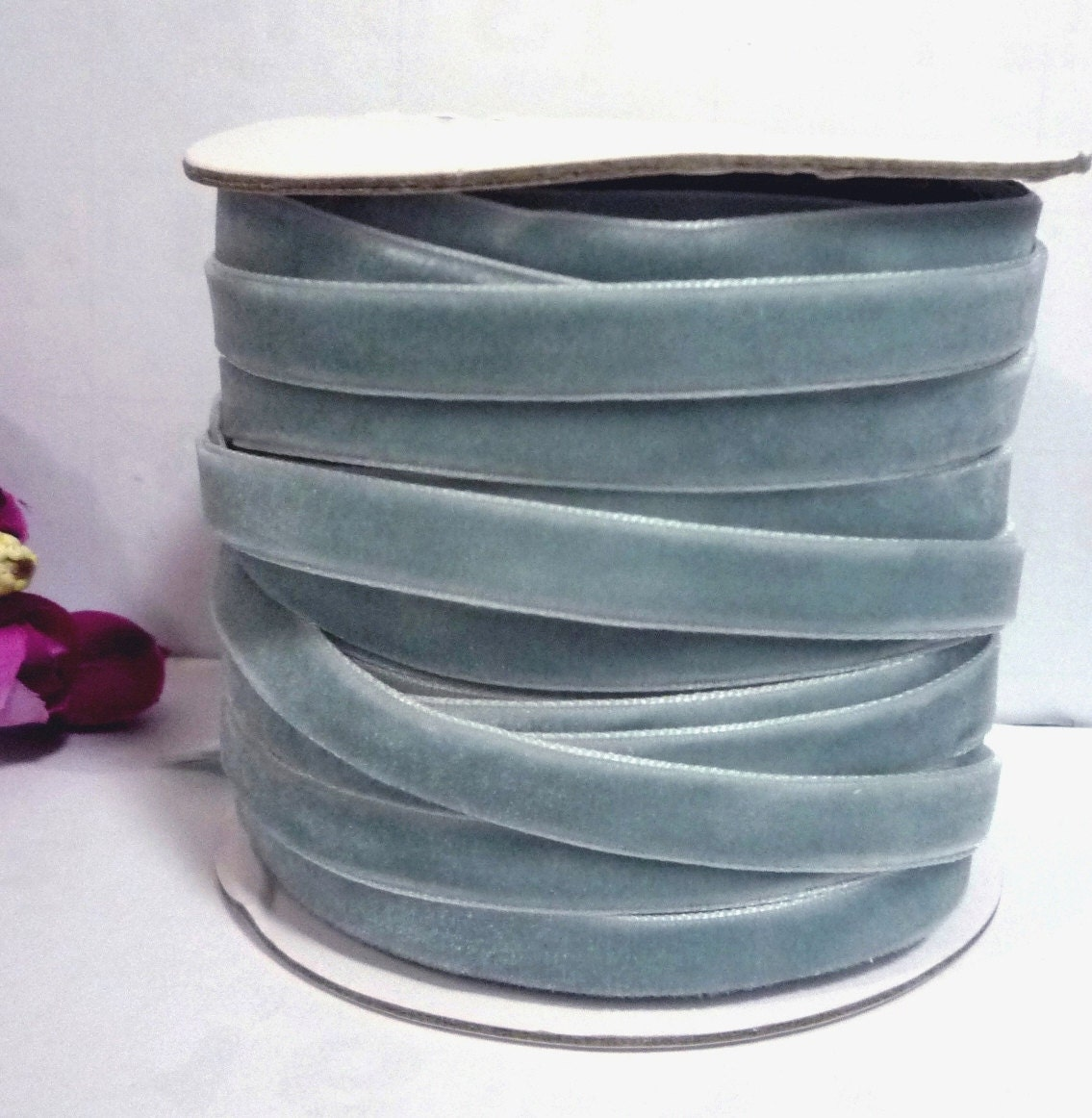 Grayish Blue nile blue / grayish blue / dusty blue velvet ribbon trim