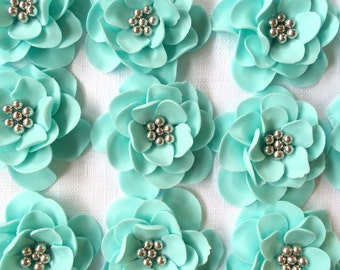 fondant flowers, 12 Vintage teal silver edible flowers cake  topper cupcake toppers decorations  wedding bridal shower shower