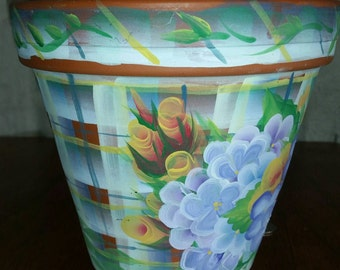 Housewarming gift for her floral handpainted terra cotta pot