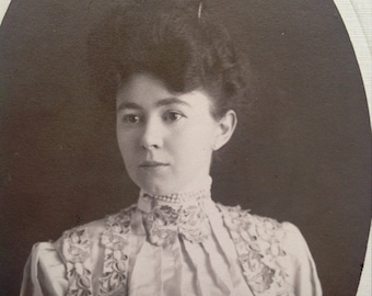 Hauntingly Beautiful Victorian Woman // Modest pretty woman antique cabinet card photo, pearls choker necklace, hair in bun, 3/4 profile