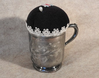 Altered Art Up-Cycled Pincushion with Vintage Silver Etched Cup, Lace and Applique