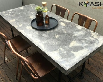 Polished concrete dining table, patio outdoor industrial look table and base.  1800mm x 800mm two tone, charcoal and grey with steel base