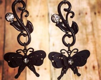 Black butterfly Earrings-Vintage inspired Jewelry Black Rhinestone Butterfly Earrings.