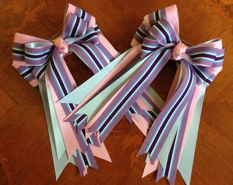 Bows for Horse Shows/Equestrian Hair Bows/Pink Purple Blue/Beautiful