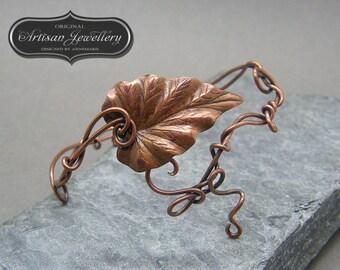 Adjustable bangle ~ Leaf bracelet ~ Copper bangle ~ Gift for her ~ Leaf jewellery ~ Handmade jewellery ~ Copper jewellery ~ Leaves ~ OOAK