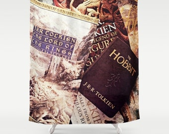 Tolkien Books Shower Curtain: home decor, bathroom, books, library, nerd, fantasy