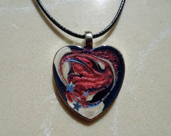 Patriotic USA Red White and Blue heart hand painted necklace