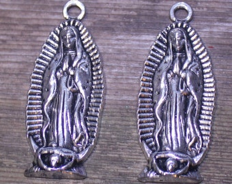 Silver Virgin Mary Charms, Virgin of Guadalupe Silver Charms, Silver Catholic Virgin Mary, Tibetan Style Virgin Mary, Religious Charm