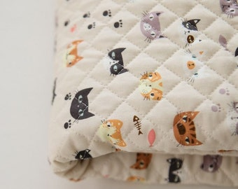 Quilted Lovely Cats' Face Pattern Cotton Fabric by Yard