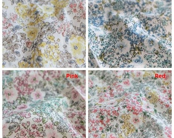 Lovely Flowers Pattern Cotton Fabric (C82204)- 4 Colors Selection
