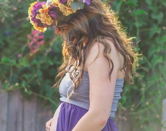 Floral crown/ floral halo/ maternity floral crown/ mommy and me floral crown/ Plum floral crown/ rustic/ wedding floral halo