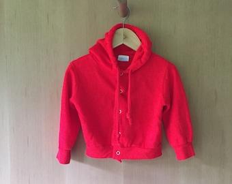 Vintage Children's Hoodie, Bright Red, 2T, 24 months