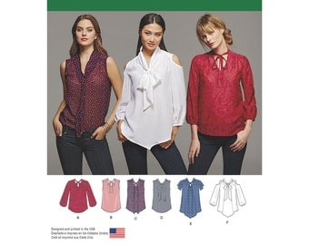 Simplicity Pattern 8131 Misses' Bow Blouses with Sleeve Variations