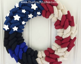 Police wreath - Thin Blue Line wreath - Police Officer wreath - Back the blue wreath - American flag wreath - Law Enforcement wreath