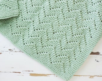 MADE TO ORDER textured chevron baby blanket // hand-knit throw // mustard color