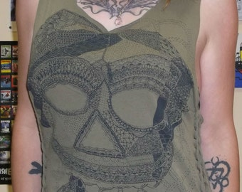 Shredded Skull Tank Top/Skull Tshirt/Skull Tee/Skull Top/Shredded Tshirt/Shredded Shirt/Upcycled Tshirt/Upcycled Clothing/Shredded Tank