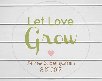 Let Love Grow Stickers, Let Love Grow Labels, Wedding Labels, Wedding Favor Stickers (#021-C)