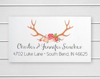 Deer Antler Address Stickers, Return Address Labels, Return Address Stickers (#358-L)
