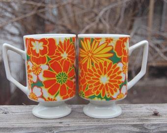 Vintage 1970s Retro Flower Power Pair of Pedestal Mugs / Orange and Green