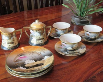 Beautiful Rare Vintage Porcelain Japanese Gold Gilded Mt. Fuji Mark Tea Set  Eleven Pieces
