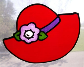 red hat window cling, window cling, faux stained glass window cling,red hat cling, red hat suncatcher, window art