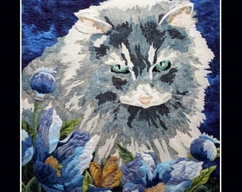 Card Textile Art with Cat (C09)