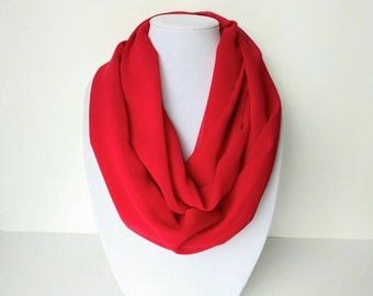 Red Infinity Scarf, Lightweight Scarf, Chiffon Scarf, Women's Fashion, Christmas gift
