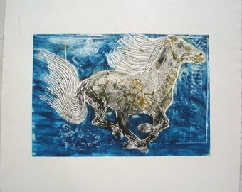 Printmaking. Wild Horse. A2 paper
