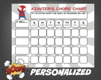 PERSONALIZED Superhero Spiderman My Chore Chart Boy Theme Behavior Chart Printable Routine Chart