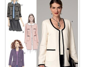 Butterick Pattern B6382 Misses' Open-Front Jackets with Patch Pockets