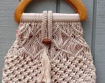 Macramé Handbag,70's Purses~ Cotton Purses