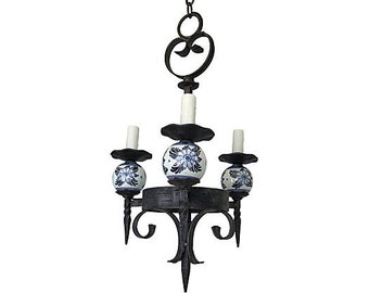 1930s French Iron & Porcelain Chandelier