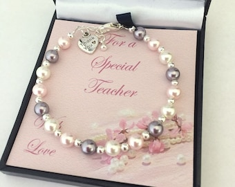 Thank You Gift for Teacher, Pastel Pearls Bracelet with Thank You Charm.