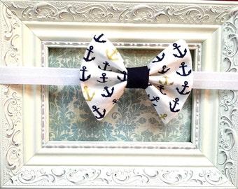 Navy Anchor Bow Headband, Nautical bow Headband, US Navy Headband, US Navy Bow