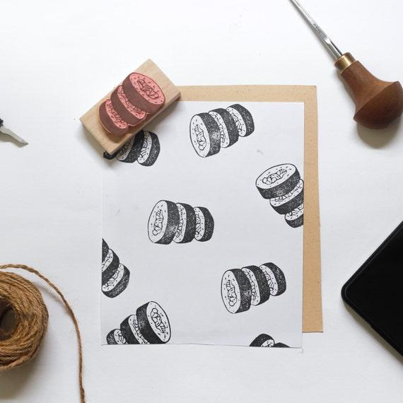 Triple Maki Sushi Linocut Stamp - Handmade Linocut Stamp Rubber Stamp