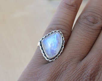 Misty Rainbow Moonstone Gemstone Ring, 925 Sterling Silver Designer Ring, Bezel Set June Birthstone Gift Ring, Blue Stone Gift Ring 7