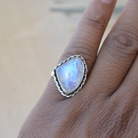 Misty Rainbow Moonstone Gemstone Ring, 925 Sterling Silver Designer Ring, Bezel Set June Birthstone Gift Ring, Blue Stone Gift Ring 7