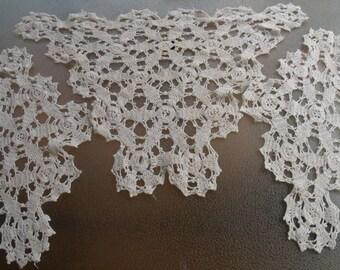 Set of 3 vintage crochet dolies ecru color