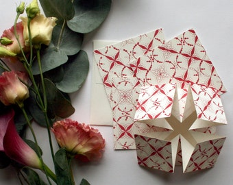 Cherry Origami wedding invitation, RSVP card and information card SAMPLE*