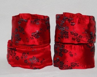 Brocade Wrist and Ankle Restraint Set:  Red and Black Cherry Blossom