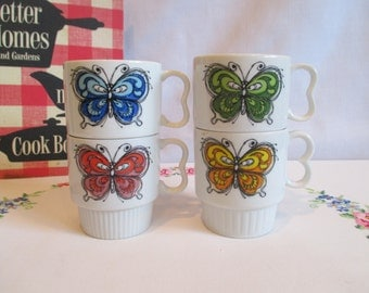 Vintage Stacking Butterfly Mugs made in Japan