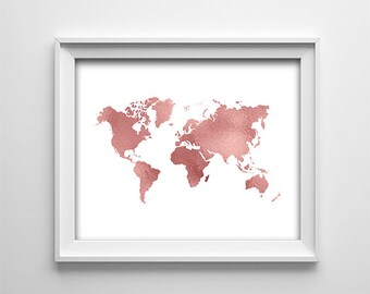 """INSTANT DOWNLOAD 8X10"""" printable digital art file-Home wall art decor-White and rose copper map of the world-Typography-Minimalist"""
