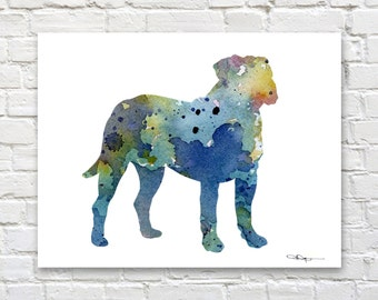 Blue Mastiff Art Print - Abstract Watercolor Painting - Wall Decor