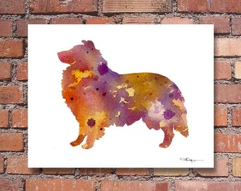 Sheltie Art Print - Abstract Watercolor Painting - Wall Decor