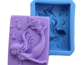 mermaid silicone mold - mermaid soap mold - mermaid candle mold - resin mold - chocolate mold - polymer clay mold