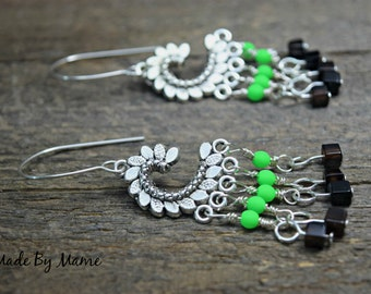 Silver Chandelier Earrings, Boho Neon Green Czech Glass Beads, Dragon Scales Charms, Agate Gemstones, Sterling Silver Handmade Gypsy Dangles
