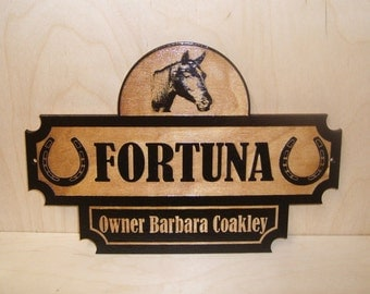 Personalized Wood Horse Stall Name Sign. BIRCH.Laser ENGRAVED.GIFT.