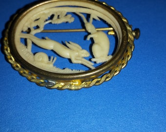 Vintage Art Deco Celluloid Cut-Out Brooch Rabbits and Sail